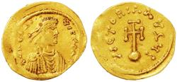 Ancient Coins - Constantine IV Pogonatus AV Gold Semissis, Very Fine, 669 - 674 C.E.
