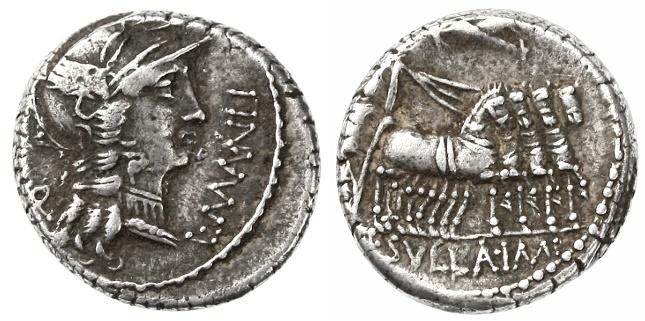 """Ancient Coins - L. Cornelius Sulla & L. Manlius Torquatus AR Denarius, """"Sulla's Triumph"""" VF, 82 B.C.E."""