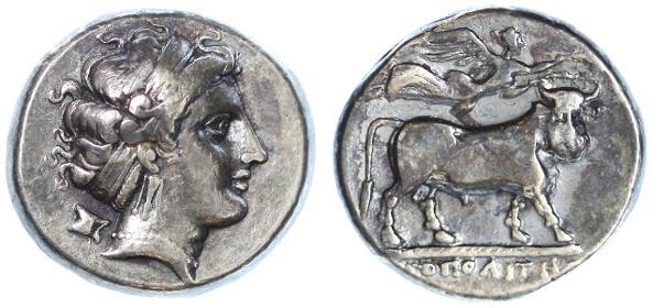 Ancient Coins - Campania, Neapolis AR Nomos (Stater), Choice GVF, 325 - 275 B.C.E.