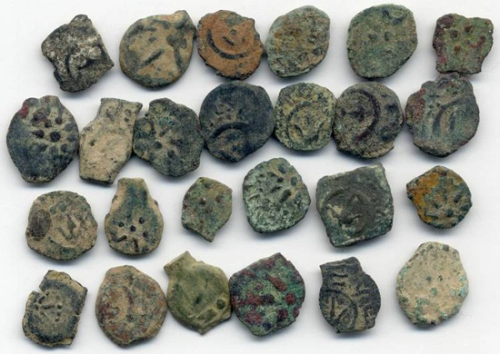 Ancient Coins - Lot of 25 Alexander Jannaeus uncleaned Widow's mites, 103 - 76 B.C.E.