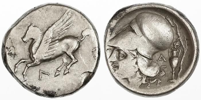 Ancient Coins - Akarnania, Leukas AR Stater, VF, 320 - 280 B.C.E.
