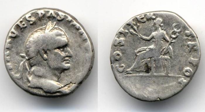 """Ancient Coins - Vespasian Denarius """"Pax"""""""