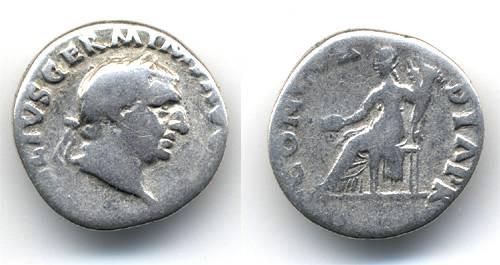 Ancient Coins - Vitellius Denarius, Pleasant Fine, Concordia PR