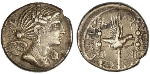 Ancient Coins - C. Valerius Flaccus AR Denarius, VF+/VF, 82 B.C.E.