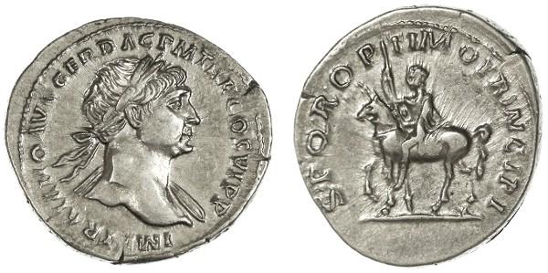 Ancient Coins - Trajan AR Denarius, SCARCE Near Extremely Fine, Emperor on horseback, 112 - 114 C.E.
