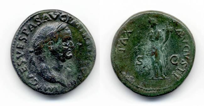 """Ancient Coins - Vespasian Sestertius, VF, """"Pax Avgvsti"""""""