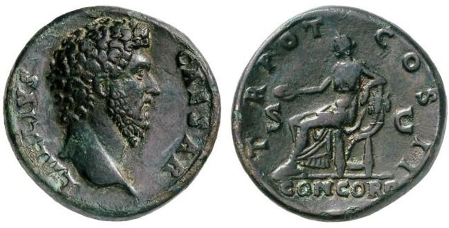 Ancient Coins - Aelius Caesar AE Sestertius, AEF/VF, BOLD Portrait, 136/137 C.E.