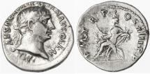 "Ancient Coins - Trajan AR Denarius, Very Fine, ""Abundantia"", 101/102 C.E."
