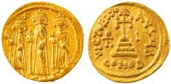 Heraclius & Heraclius Constantine with Heraclonas Gold AV Solidus, GVF, 636/637 C.E.