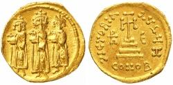 Ancient Coins - Heraclius & Heraclius Constantine with Heraclonas Gold Solidus, NGC AU