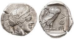 Ancient Coins - Attica, Athens AR Tetradrachm, Choice Extremely Fine, 454 - 404 B.C.E.