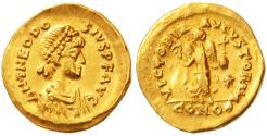 Ancient Coins - Theodosius II AV Gold Tremissis,  Lustrous Extremely Fine, 402 - 450 B.C.E.