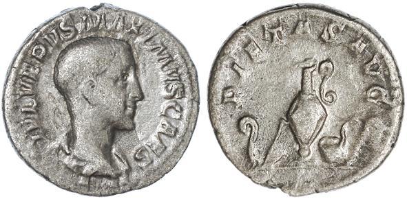 Ancient Coins - Maximus AR Denarius, Scarce F+/AVF, 235 - 238 C.E.