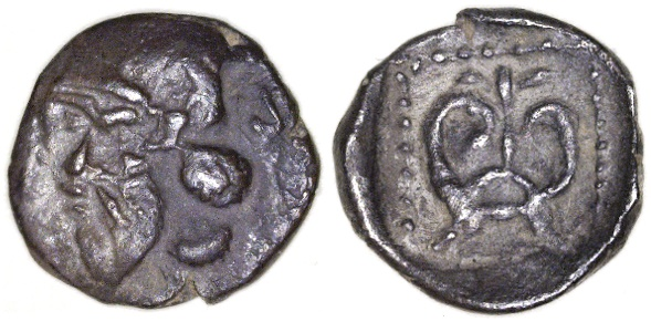 Ancient Coins - Philistia, Ashdod AR Ma'ah, RARE, Choice VF+, see notes, 5th  - 4th Century B.C.E.