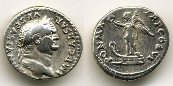 Ancient Coins - Vespasian Denarius, VF, Victory on Prow