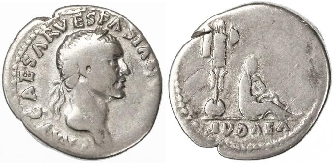 "Ancient Coins - Vespasian ""JUDAEA CAPTA"" AR Denarius, Fine, 69/70 C.E."