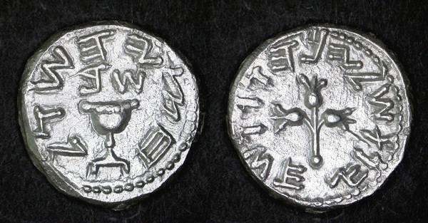 Ancient Coins - First Revolt Half Shekel, EF/EF+, Temple Donative, Year 2 - 67/68 C.E. RARE & RARE DIE