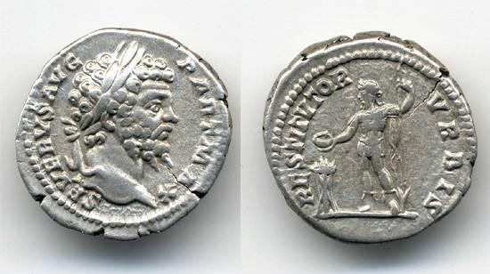 Ancient Coins - Septimius Severus AR Denarius, Emperor on reverse.
