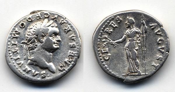 Ancient Coins - Domitian AR Denarius as Caesar, VF, Ceres, Scarce type for Domitian