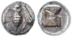 Ancient Coins - Ephesos, Ionia AR Obol, Very Fine, RARE, 550 - 500 B.C.E.