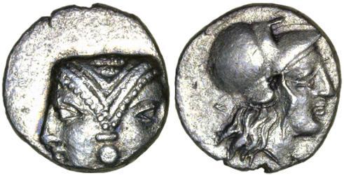 Ancient Coins - Lampsakos, Mysia AR Diobol, AEF, 4th - 3rd Centuries B.C.E.