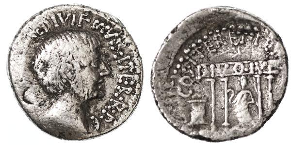 "Ancient Coins - Octavian AR Denarius, Scarce ""DIVO IVL"", VF, 36 B.C.E."
