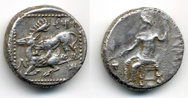 Ancient Coins - Mazaios Satrap of Cilicia, Tarsos, RARE Stater, Lion attacking Stag, 361 - 330 B.C.E.