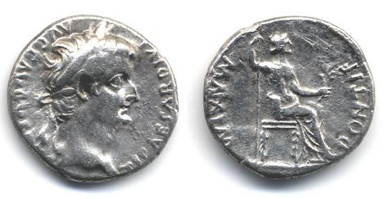 Ancient Coins - Tiberius Denarius, VF/AVF, TRIBUTE PENNY, 14 -37 C.E.