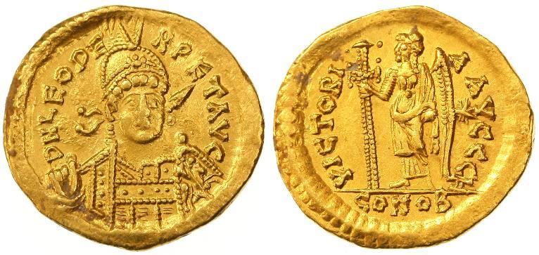 Ancient Coins - Leo I AV Gold Solidus, VF/VF+, 462 or 466 C.E