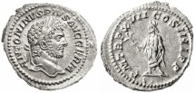 Ancient Coins - Caracalla AR Denarius, SUPERB EF on a broad flan, 214 C.E.