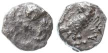 Ancient Coins - Yehud AR Gerah, VERY RARE inscription type, see notes, Very Fine, 5th - 4th Century B.C.E.