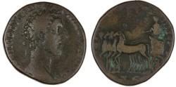 """Ancient Coins - Commodus RARE AE Sestertius, Fine+, """"Emperor in triumphal quadriga"""", 183 C.E."""