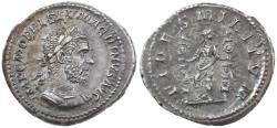 Ancient Coins - Macrinus AR Denarius, Toned Extremely Fine, 217/218 C.E.