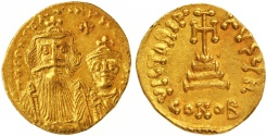 Ancient Coins - Constans II and Constantinus IV Gold AV Solidus, Extremely Fine, 654 - 659 C.E.