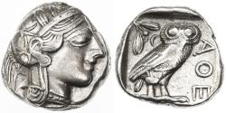 Ancient Coins - Attica, Athens AR Tetradrachm, VF+/VF, 455 - 404 BCE