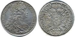 World Coins - Karl VI Taler, Good Very Fine, Prag Mint, Austria 1711 - 1740