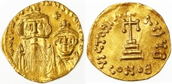 Ancient Coins - Constans II and Constantinus IV Gold AV Solidus, Lustrous Extremely Fine, 654 - 659 C.E.