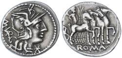Ancient Coins - M. Vargunteius AR Denarius, Very Fine, Rome Republic Circa. 130 B.C.E.