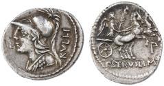Ancient Coins - P. Servilius Rullus AR Denarius, GVF/AEF, toned, 100 B.C.E.