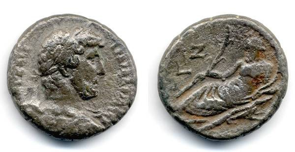 Ancient Coins - Hadrian Billon Tetradrachm, AVF/VF, very CLEAR date, Alexandria Egypt