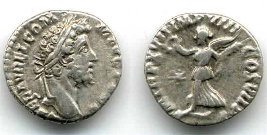 Ancient Coins - Commodus AR Denarius, VF/F, Victory holding wreath