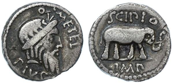 """Ancient Coins - Q. Caecilius Metellus Pius Scipio AR Denarius, Scarce """"Elephant"""", AVF, 47/46 B.C.E."""