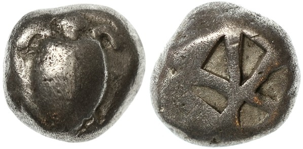 "Ancient Coins - Aegina, Attica AR Stater, archaic type ""Turtle"", Circa. 510 - 490 B.C.E."