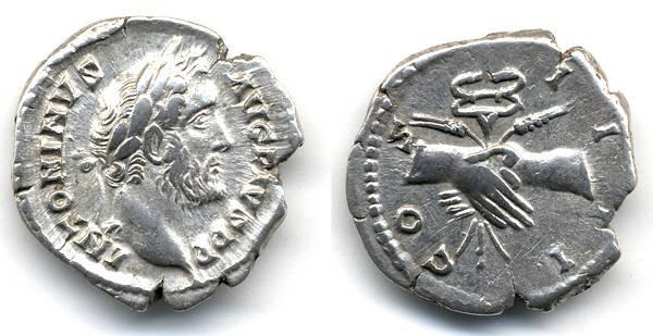 """Ancient Coins - Antoninus Pius, EF, """"Clasped hands"""" denarius"""