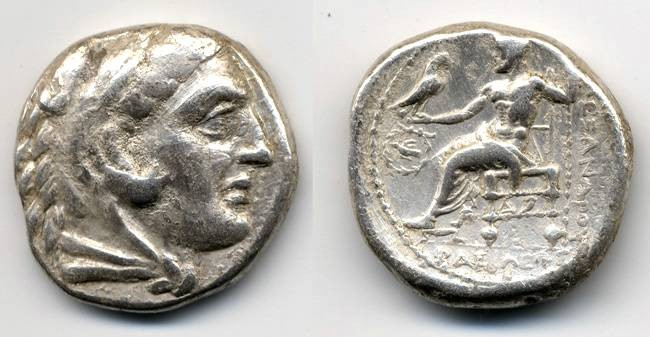 "Ancient Coins - Alexander the Great ""Dove in Wreath"" Tetradrachm, CORINTH mint, interesting style"
