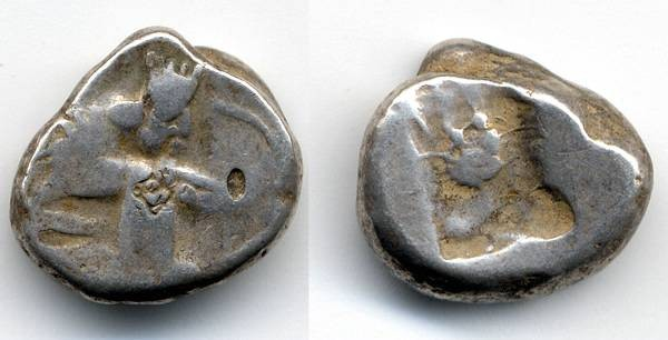 Ancient Coins - Persia, Lydia, AR Siglos, F+, countermarked with interesting reverse punch