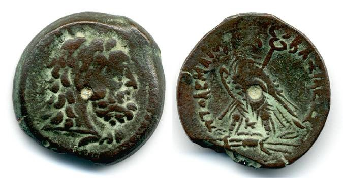 Ancient Coins - Ptolemy VI, AE 24, Scarce Type, F+, 170-145 B.C.E.