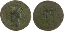 Ancient Coins - Domitian AR Sestertius, LARGE flan, Victory crowning Emperor, 81 - 96 C.E.