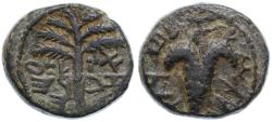 "Ancient Coins - Shimon Bar Kokhba ""Eleazar"" Year Three AE, Very RARE, VF, 134/135 C.E."
