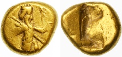 Ancient Coins - Persia, Achaemenid Kings AV Gold Daric, VF, 480 - 420 B.C.E.
